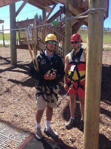 Vail employee Jeff instructs Benjamin on the Ropes Course.