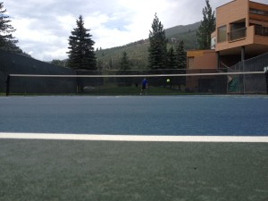 Playing tennis with my dad at Vail Spa.