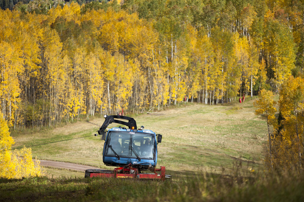 mowing ski runs in summer. Photo: Andrew Taylor