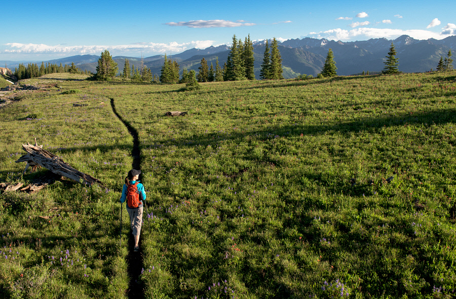 On a clear summer morning, a hiker strolls through the back bowls of Vail, admiring the grandeur of the Gore Range.